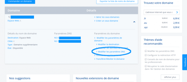 Modification des DNS 1&1